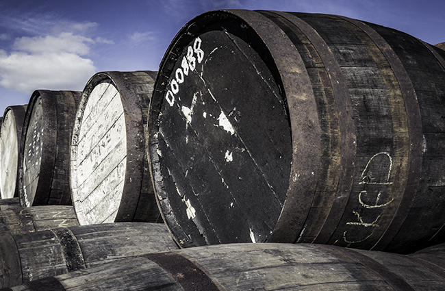 The barrel yard at Duncan Taylor's offices in Huntly, Scotland. Photo ©2016, Mark Gillespie/CaskStrength Media.