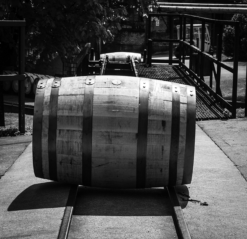 A Bourbon barrel on the track to the warehouse at Buffalo Trace Distillery. Photo ©2011, Mark Gillespie/CaskStrength Media.