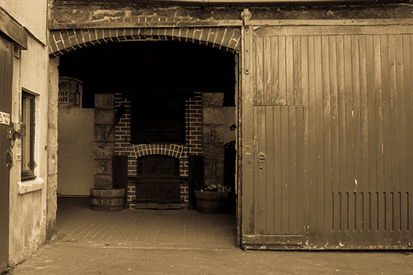 The Kiln Room door at Knockdhu Distillery in Scotland.
