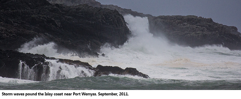 Storm waves pound the Islay coast near Port Wemyss, September 2011.