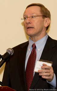 DISCUS Chief Economist David Ozgo presents 2012 U.S. spirits sales data at a news briefing February 6, 2013.