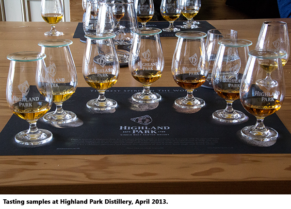 Highland Park tasting samples, April 2013.