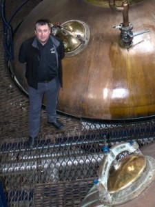 Pulteney Distillery Manager Malcolm Waring in the stillroom.