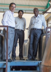 Amrut Vice President of Production Surrinder Kumar (L), Managing Director Rakshit (Rick) Jagdale (C), and Technical Director Muthuraman Meyyappan in the Amrut stillhouse, March 2013.