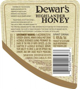 "The rear label of Dewar's Highlander Honey, showing its designation as a ""spirit drink"" to comply with Scottish law."