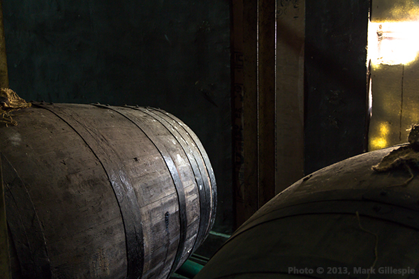 Whisky casks in one of Amrut's warehouses in Bangalore, India. Photo © 2013 by Mark Gillespie.