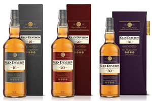 Glen Deveron 16, 20, and 30 year old malts. Image courtesy Bacardi/Dewar's.