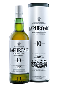 Laphroaig 10 Bottle & Tube. Image courtesy Beam Inc.