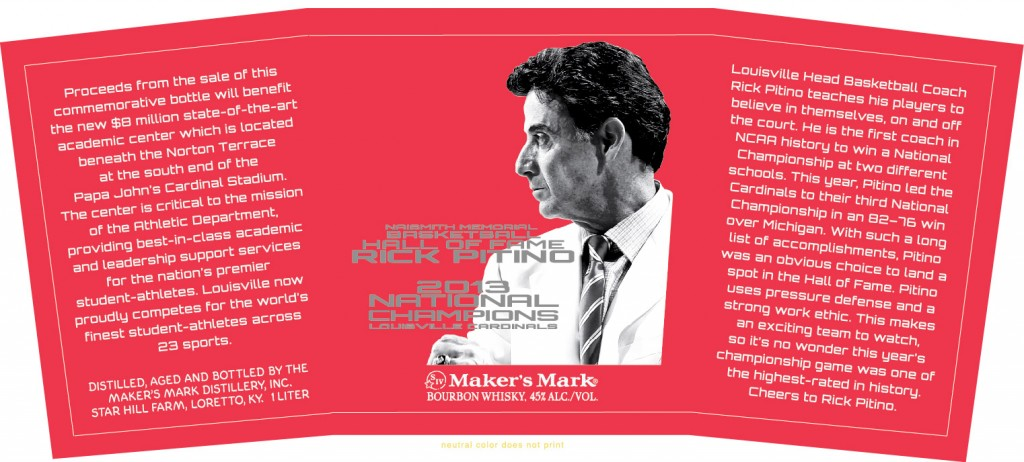 Maker's Mark Rick Pitino commemorative bottle. Image provided by TTB.gov.