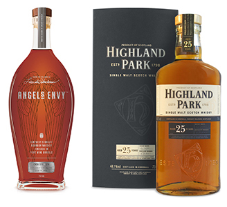 Angel's Envy Cask Strength Bourbon and Highland Park 25 Single Malt Scotch, named by The Spirit Journal as the Best Spirits in the World for 2013. Images courtesy Angel's Envy and Highland Park.