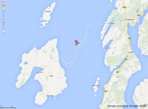 Google's map with the missing Isle of Jura in Scotland. Image courtesy Google Maps.