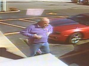 "Surveillance video from a liquor store in Elizabethtown, KY, shows a ""person of interest"" in the Pappy Van Winkle theft investigation. Image courtesy Franklin County Sheriff's Department via Kentucky.com."