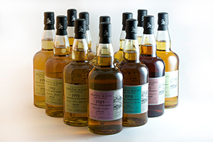 The Wemyss Malts October 2013 range of single cask Scotch whiskies. Image courtesy Wemyss Malts.