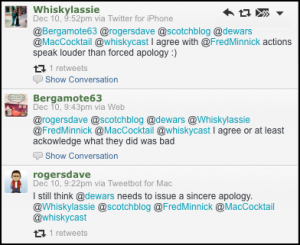 "Tweets criticizing the Dewar's ""Meet the Baron"" online video September 10, 2013."