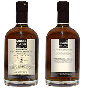 Single Cask Nation's Catoctin Creek Rye Whiskey. Image courtesy Jewish Whisky Company.