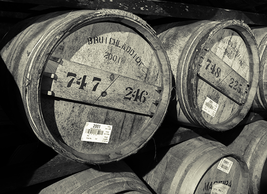 Casks in one of Bruichladdich's warehouses on Islay. Photo ©2011 by Mark Gillespie.