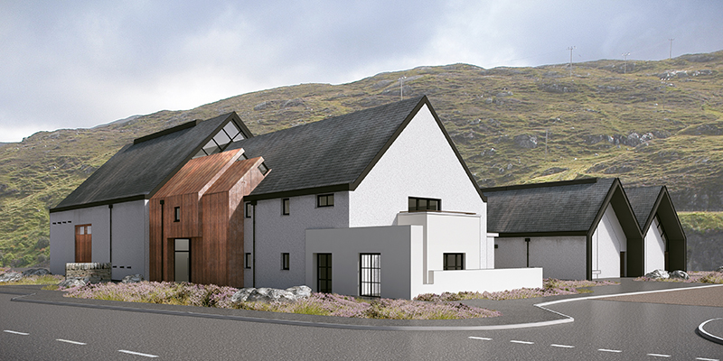 An architect's rendering of the Isle of Harris Distillery being built in Tarbert, Scotland. Image courtesy Isle of Harris Distillery.