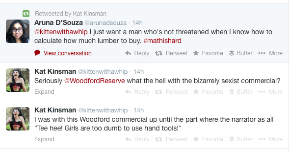"Twitter comments on Woodford Reserve's ""Bookshelf"" TV commercial."