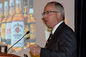Beam's Bill Newlands speaks during the 2013 World Whiskies Conference April 4, 2013 in New York City. Photo ©2013 by Mark Gillespie.