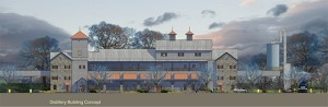 An architect's rendering of Diageo's proposed distillery in Shelby County, Kentucky. Image courtesy Diageo.