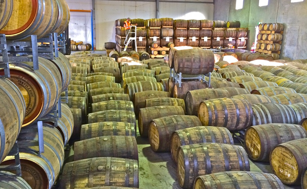 Barrels waiting to be stacked at Tasmania Distillery's new facility in Cambridge, Australia. Photo courtesy Tasmania Distillery.