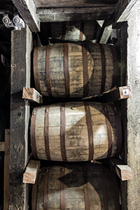 Bourbon barrels maturing in a Jim Beam warehouse in Clermont, Kentucky. Photo ©2012 by Mark Gillespie.