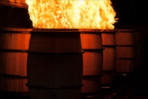 Barrels being charred at Brown-Forman's cooperage in Louisville, Kentucky. Photo ©2011 by Mark Gillespie.
