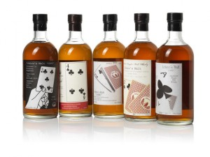 "This 5-bottle ""poker straight"" from the Ichiro's Malt series sold for $20, 546 at Bonhams in Hong Kong August 15, 2014. Image courtesy Bonhams."