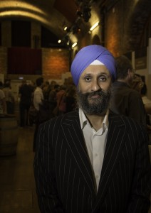The Whisky Exchange's Sukhinder Singh on the show floor during The Whisky Show, October 6, 2014. Photo ©2014 by Mark Gillespie.