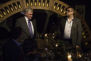 Irish Distillers Master Distiller Emeritus Barry Crockett (L) and Master Distiller Brian Nation discuss the Midleton Very Rare 30th Anniversary Pearl Edition during a dinner at Midleton Distillery October 23, 2014. Photo ©2014 by Mark Gillespie.