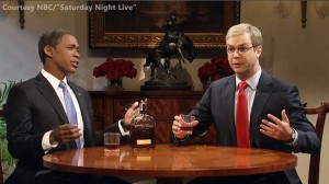 Saturday Night Live cast members Jay Pharoah (L) and Taryn Killam perform during the November 15, 2014 episode of Saturday Night Live. Image courtesy NBC.