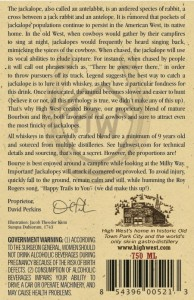The back label for High West's Bourye Whiskey. Image courtesy TTB.gov.
