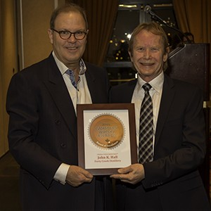Canadian Whisky Awards founder Davin de Kergommeaux (L) and Forty Creek's John Hall during the Canadian Whisky Awards presentation January 15, 2015. Photo ©2015 by Mark Gillespie.
