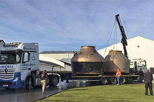 Workers at Bruichladdich load the former Inverleven Distillery stills onto a truck to be taken to Forsyths for refurbishment. The stills will be used in Mark Reynier's new Waterford Distillery in Ireland. Photo courtesy Mark Reynier.