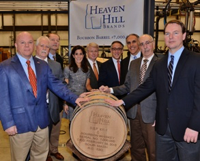 Heaven Hill executives celebrate the filling of the company's seven millionth barrel of whiskey in a ceremony February 10, 2015. Image courtesy Heaven Hill Brands.
