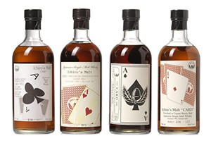 This 4-bottle set of Aces from Ichiro Akuto's Hanyu playing cards series brought a high bid of $25,799 USD at the Bonhams Hong Kong whisky auction February 6, 2015. Image courtesy Bonhams.