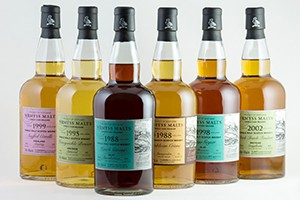 The six single malts in Wemyss Malts' February 2015 release. Image courtesy Wemyss Malts.