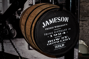 A Jameson cask on display at the Old Jameson Distillery in Dublin. Photo ©2011 by Mark Gillespie.