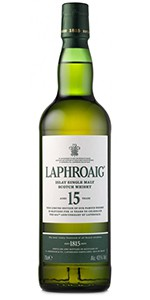 Laphroaig 15 Year Old Islay Single Malt Scotch Whisky. Image courtesy Laphroaig/Beam Suntory.