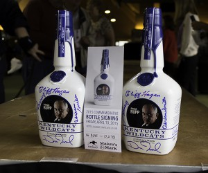 Two of the 2015 Maker's Mark Keeneland Bottles honoring longtime University of Kentucky basketball coach Adolph Rupp. Photo ©2015 by Mark Gillespie.
