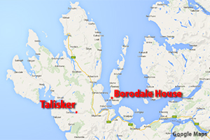 A map showing the location of the proposed Raasay Distillery on Scotland's Isle of Raasay. Map courtesy Google Maps.