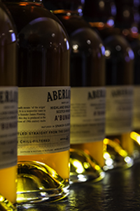 Bottles of Aberlour A'Bunadh on display at the distillery's Fleming Rooms. Photo ©2015 by Mark Gillespie.