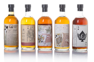 The 5-bottle royal flush set of Ichiro's Malts that sold for $44,250 USD at Bonhams in Hong Kong on May 23, 2015. Image courtesy Bonhams.