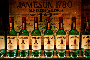 Jameson Irish Whiskey bottles on display at Midleton Distillery, September 2013. Photo ©2013 by Mark Gillespie.
