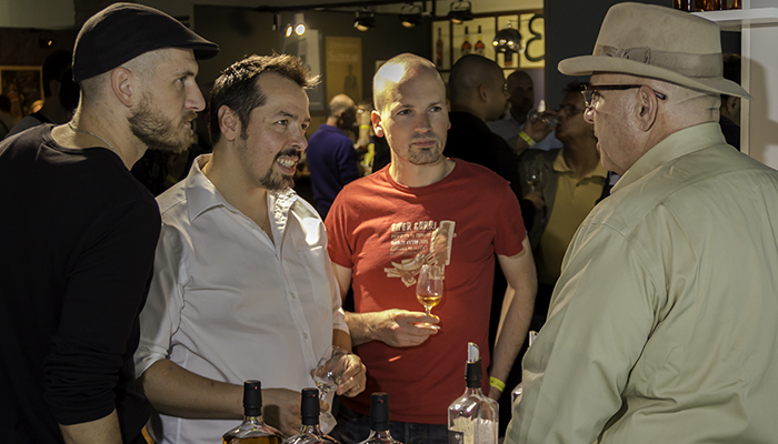 Dad's Hat Distiller Herman Mihalich describes his whiskies to Whisky Live Paris attendees. Photo ©2015 by Mark Gillespie.