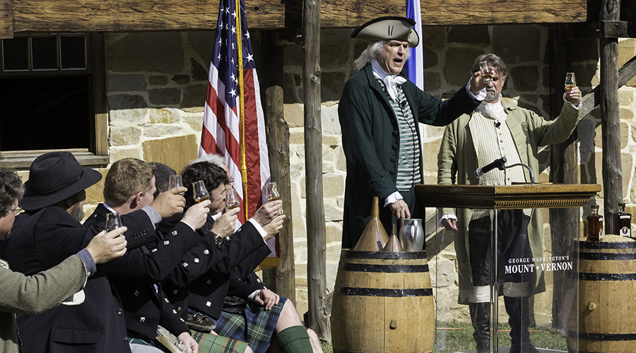 "Distillers and ""George Washington"" raise a toast during a news conference at Mount Vernon October 13, 2015. Photo ©2015 by Mark Gillespie."