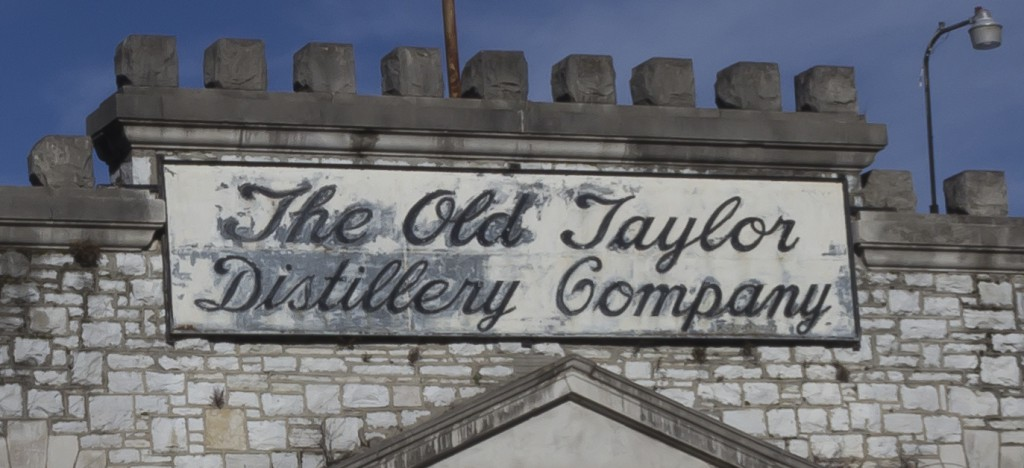 The original sign above the entrance to the Old Taylor Distillery. Photo ©2012 by Mark Gillespie.