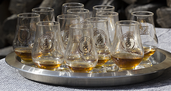 Glasses of George Washington's Single Malt Whisky at Mount Vernon October 13, 2015. Photo ©2015 by Mark Gillespie.
