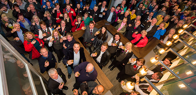 Some of the 240 people gathered to toast Glenturret Distillery's 240th anniversary on November 5, 2015. Photo by Fraser Band courtesy Edrington Group.