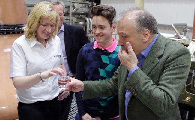 Waterford Distillery founder Mark Reynier (R) tastes the distillery's first spirit with head brewer Lisa Ryan (L) and his son Ruari (C) December 9, 2015. Photo ©2015 by Mark Gillespie.